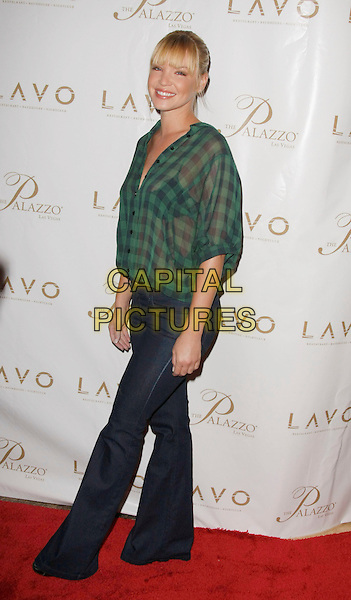 APRIL SCOTT .Lavo Restaurant and Nightclub Grand Opening held at the Palazzo, Las Vegas, Nevada, USA..September 13th, 2008.full length green black checkered shirt top sheer jeans denim .CAP/ADM/MJT.© MJT/AdMedia/Capital Pictures.