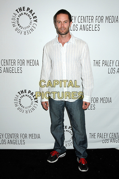 "GARRETT DILLAHUNT.28th Annual Paley Center for Media's Paley Fest 2011 Presents ""Raising Hope"" held at The Saban Theatre, Beverly Hills, California, USA..March 17th, 2011.full length shirt jeans denim white stripe stubble beard facial hair   .CAP/ADM/BP.©Byron Purvis/AdMedia/Capital Pictures."