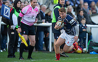 Ben Calder of London Scottish in action during the Greene King IPA Championship match between London Scottish Football Club and Jersey at Richmond Athletic Ground, Richmond, United Kingdom on 7 November 2015. Photo by Andy Rowland.
