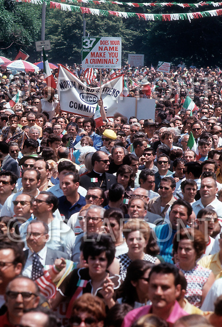 """Manhattan, New York City, NY - June 29th, 1970. More than 150,000 people attended the """"Italian-American Unity Day Rally"""" held in Manhattan's Columbus Circle. The new """"Italian American Civil Rights League"""" began a campaign to stop using the word """"Mafia"""" in official NY documents."""
