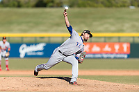 Surprise Saguaros relief pitcher Joe Barlow (19), of the Texas Rangers organization, delivers a pitch during an Arizona Fall League game against the Mesa Solar Sox at Sloan Park on November 15, 2018 in Mesa, Arizona. Mesa defeated Surprise 11-10. (Zachary Lucy/Four Seam Images)