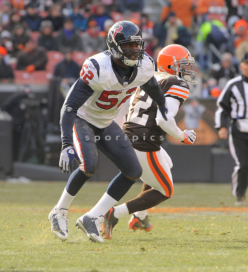 XAVIER ADIBI, of the Houston Texans in action against the Cleveland Browns during the Texans  game in Cleveland Ohio on November 16, 2008..The Texans win the game 16-6