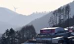 A view of the sliding center. Views from around the Main Press Centre (MPC). Pyeongchang2018 winter Olympics. Main Press Centre. Alpensia. Pyeongchang. Republic of Korea. 08/02/2018. ~ MANDATORY CREDIT Garry Bowden/SIPPA - NO UNAUTHORISED USE - +44 7837 394578