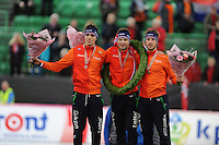 SPEED SKATING: HAMAR: Vikingskipet, 05-03-2017, ISU World Championship Allround, Final Podium Men, Patrick Roest (NED), Sven Kramer (NED), Jan Blokhuijsen (NED), ©photo Martin de Jong