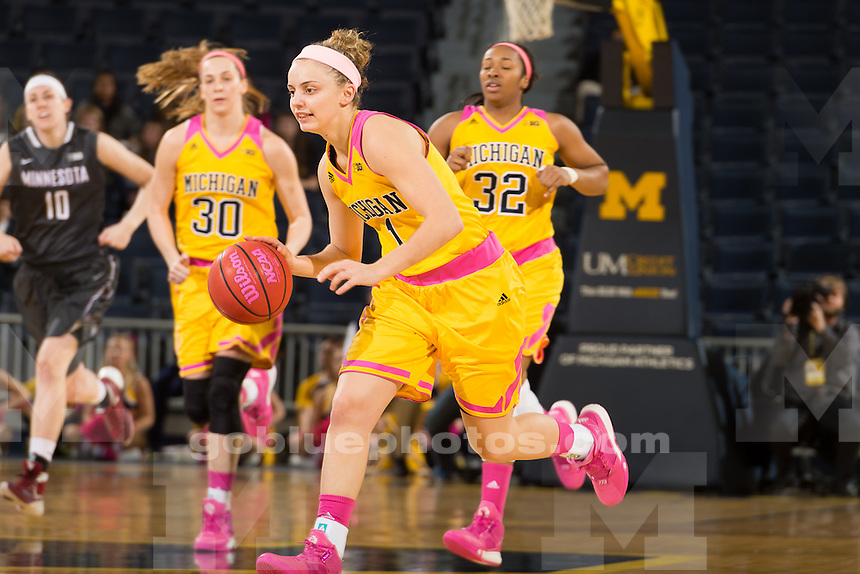 The University of Michigan women's basketball team,92-76,victory over Minnesota at Crisler Arena in Ann Arbor, Mich., on Jan. 31, 2016.