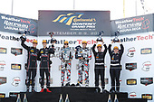 #73 Park Place Motorsports Porsche 911 GT3 R, GTD: Patrick Lindsey, J?rg Bergmeister, #86 Michael Shank Racing with Curb-Agajanian Acura NSX, GTD: Katherine Legge, Alvaro Parente, #33 Riley Motorsports Mercedes AMG GT3, GTD: Jeroen Bleekemolen, Ben Keating, podium