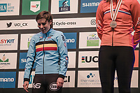 the (re)new(ed) World Champion Sanne Cant (BEL) waiting to receive her gold medal.<br /> <br /> Women Elite Race<br /> UCI CX Worlds 2018<br /> Valkenburg - The Netherlands
