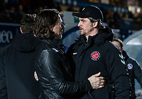 Fleetwood Town's manager Joey Barton is greeted by Wycombe Wanderers' manager Gareth Ainsworth <br /> <br /> Photographer Andrew Kearns/CameraSport<br /> <br /> The EFL Sky Bet League One - Wycombe Wanderers v Fleetwood Town - Tuesday 11th February 2020 - Adams Park - Wycombe<br /> <br /> World Copyright © 2020 CameraSport. All rights reserved. 43 Linden Ave. Countesthorpe. Leicester. England. LE8 5PG - Tel: +44 (0) 116 277 4147 - admin@camerasport.com - www.camerasport.com