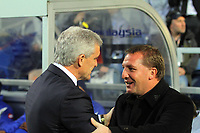 FAO SPORTS PICTURE DESK<br /> Pictured L-R: Mark Hughes manager for QPR with Brendan Rodgers manager for Swansea. Wednesday, 11 April 2012<br /> Re: Premier League football, Queens Park Rangers v Swansea City FC Loftus Road Stadium, London.