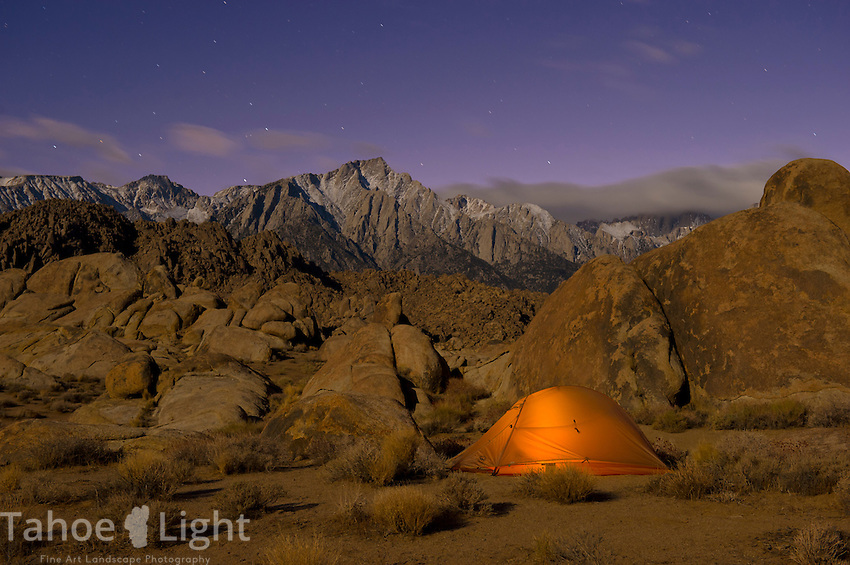 Big Agnes Fly Creek II tent outside at night in the Alabama Hills.