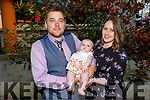 Baby Penelope Rose Collins from Tralee with her mom and dad, Tomas and Mandy Collins at her christening party in the Brandon Hotel on Saturday..