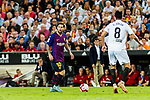 Lionel Messi of FC Barcelona (L) in action during their La Liga 2018-19 match between Valencia CF and FC Barcelona at Estadio de Mestalla on October 07 2018 in Valencia, Spain. Photo by Maria Jose Segovia Carmona / Power Sport Images
