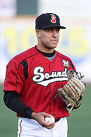Nashville Sounds infielder Juan Sanchez #4 before a game against the Omaha Storm Chasers at Greer Stadium on April 25, 2011 in Nashville, Tennessee.  Omaha defeated Nashville 2-1.  Photo By Mike Janes/Four Seam Images