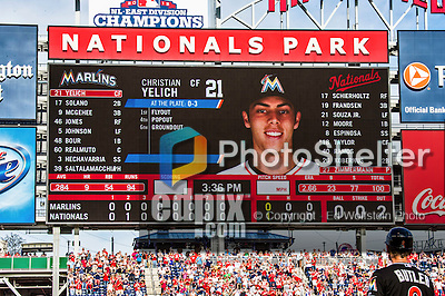 28 September 2014: The Washington Nationals scoreboard indicates the last batter of the day for the Miami Marlins: left fielder Christian Yelich, as Nationals starting pitcher Jordan Zimmermann prepares to face him for the no-hitter against the Miami Marlins at Nationals Park in Washington, DC. The Nationals shut out the Marlins 1-0, caping the season with the first Nationals no-hitter in modern times. The win also notched a 96 win season for the Nats: the best record in the National League. Mandatory Credit: Ed Wolfstein Photo *** RAW (NEF) Image File Available ***
