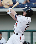 Aces Doug Deeds swings Thursday night against the Rainiers.  Photo by Tom Smedes.