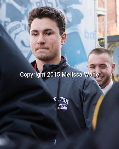 Kenny Sumsky (BU - Manager) - The teams walked the red carpet through the Fan Fest outside TD Garden prior to the Frozen Four final on Saturday, April 11, 2015, in Boston, Massachusetts.