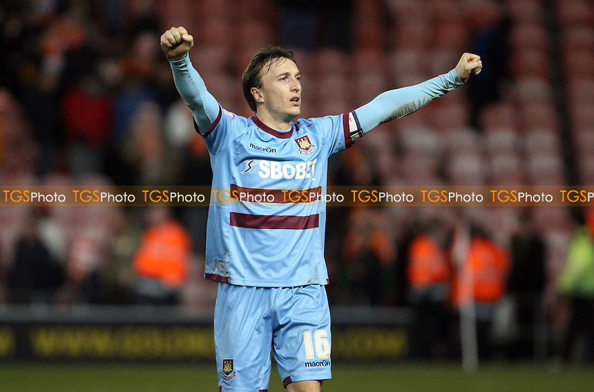 Mark Noble of West Ham celebrates at the end of the game - Blackpool vs West Ham United, npower Championship at Bloomfield Road, Blackpool - 21/02/12 - MANDATORY CREDIT: Rob Newell/TGSPHOTO - Self billing applies where appropriate - 0845 094 6026 - contact@tgsphoto.co.uk - NO UNPAID USE..