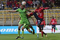 BOGOTA - COLOMBIA - 21 - 10 - 2017: Francisco Najera (Izq.) jugador de La Equidad disputa el balón con Juan Caicedo (Der.) jugador del Independiente Medellín, durante partido entre La Equidad y el Indeendiente Medellín,  por la fecha 16 de la Liga Aguila II-2017, jugado en el estadio Metropolitano de Techo de la ciudad de Bogota. / Francisco Najera (L) player of La Equidad vies for the ball with Juan Caicedo (R) player of Independiente Medellin, during a match between La Equidad and Indepndiente Medellin, for the  date 16nd of the Liga Aguila II-2017 at the Metropolitano de Techo Stadium in Bogota city, Photo: VizzorImage  /Felipe Caicedo / Staff.