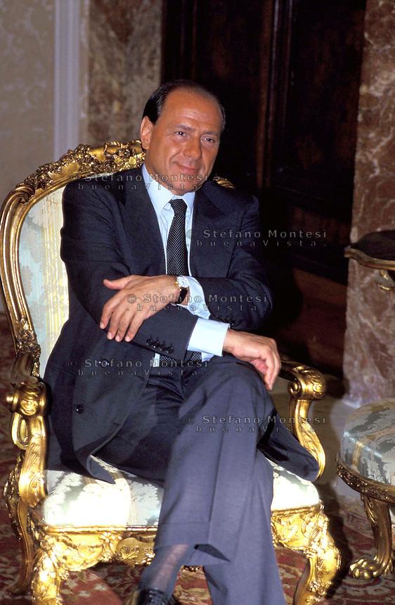 Roma Palazzo Chigi 2001.Silvio Berlusconi Presidente del Consiglio .Silvio Berlusconi President of the Council