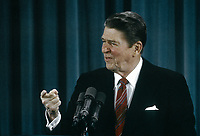Washington, DC., USA, February 22, 1984<br /> President Ronald Reagan's 22nd news conference takes place n the East Room of the White House Credit: Mark Reinstein/MediaPunch