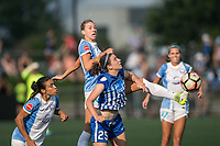 Allston, MA - Saturday August 19, 2017: Alanna Kennedy, Morgan Andrews during a regular season National Women's Soccer League (NWSL) match between the Boston Breakers and the Orlando Pride at Jordan Field.