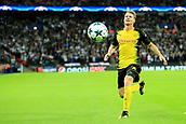 13th September 2017, Wembley Stadium, London, England; Champions League Group stage, Tottenham Hotspur versus Borussia Dortmund;  Lukasz Piszczek of Borussia Dortmund sees the ball go out of play