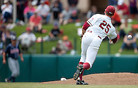 STANFORD, CA - May 22, 2011: Stephen Piscotty of Stanford baseball throws to first during Stanford's game against Arizona at Sunken Diamond. Stanford won 2-1.
