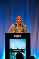 Haleiwa Hawaii, (Monday December 6, 2010) .Monday.  Kelly Slater (USA).    40th annual SURFER Poll Awards were held tonight at Turtle Bay Resort on Oahu's North Shore..Sal Masekela (USA)  returned to serve as the Master of Ceremonies for the event with charismatic Hawaiian surf star Fred Patacchia as co-host .This year's SURFER Poll Awards were held in honor of recently lost legend, three-time World Champion Andy Irons. While acknowledging all of the surfers lost this year, the event  put a heavy focus on Andy and the legacy he leaves behind in and out of the water. Another focal point of this year's show was  Kelly Slater's 10th world title win. Touted as the world's most dominant athlete, Kelly's accomplishments have catapulted the sport of surfing and garnered the world's attention. Kelly was award the male Surfer of the Year award with Stephanie Gilmore (AUS) taking out the Female Surfer of the Year..Photo: joliphotos.com