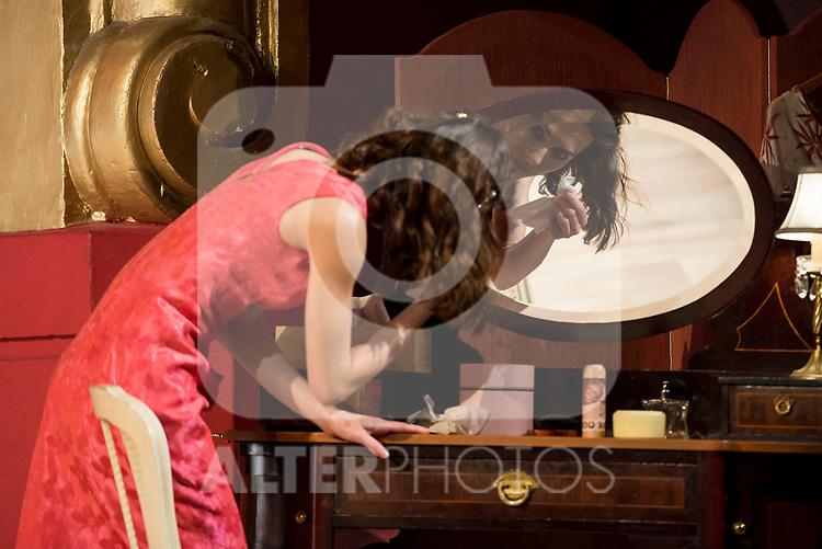 """Begoña Maestre during theater play of """"Una gata sobre un tejado de Cinc caliente"""" at Reina Victoria theater in Madrid, Spain. March 15, 2017. (ALTERPHOTOS/BorjaB.Hojas)"""