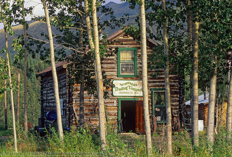Historic Wiseman log trading post, small mining town of Wiseman, Brooks Range, Alaska