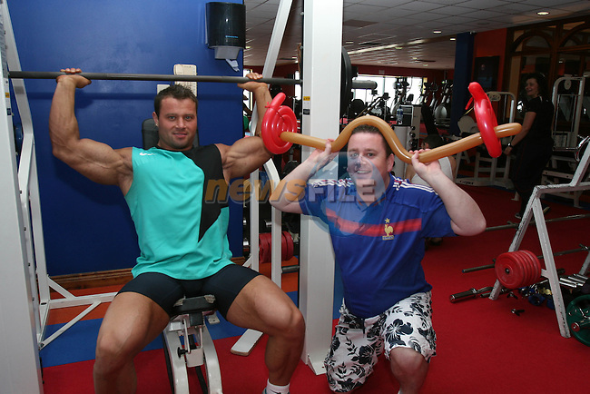 Mr Ireland Body Builder, Releo Gauca with Ciaran Malone at the Neptune Beach Hotel Open Day....Photo NEWSFILE/Jenny Matthews.(Photo credit should read Jenny Matthews/NEWSFILE)....This Picture has been sent you under the condtions enclosed by:.Newsfile Ltd..The Studio,.Millmount Abbey,.Drogheda,.Co Meath..Ireland..Tel: +353(0)41-9871240.Fax: +353(0)41-9871260.GSM: +353(0)86-2500958.email: pictures@newsfile.ie.www.newsfile.ie.FTP: 193.120.102.198.