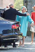 TRONDHEIM, NORWAY - JUNE 23:  King Harald of Norway greets his sister Princess Astrid at a service at Nidaros Cathedral on a visit to Trondheim, during the King and Queen of Norway's Silver Jubilee Tour, on June 23, 2016 in Trondheim, Norway.