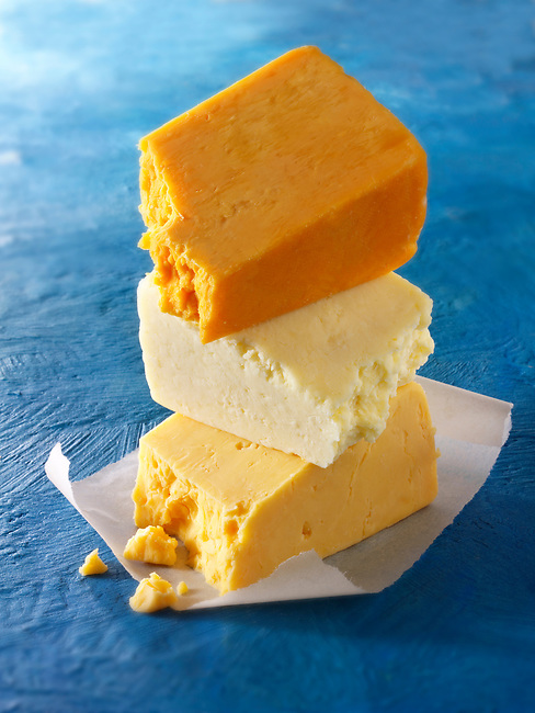 British Blue Cheese -From the top - Double Gloucester. Lancashire, Red Leicester. Funky Stock Photos.