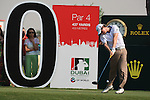 Rory McIlroy on the 10th tee during the final round of the Dubai World Championship on the Earth Course at the Jumeirah Golf Estate, Dubai..Picture Fran Caffrey/www.golffile.ie.