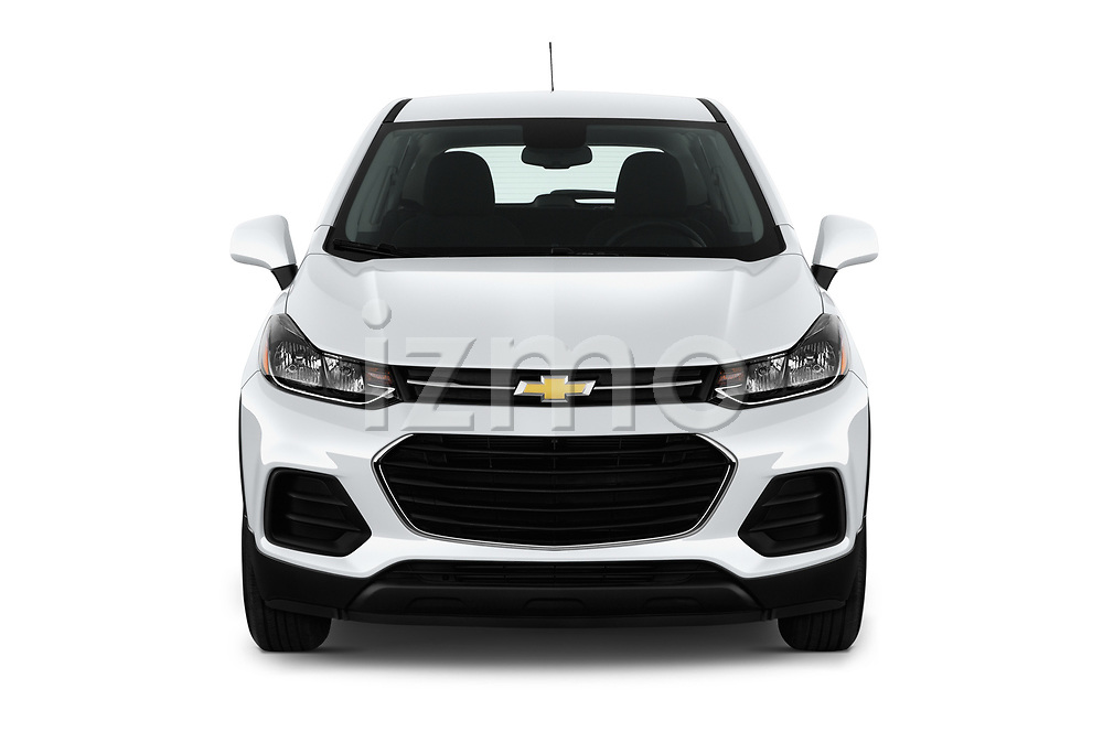 Car photography straight front view of a 2018 Chevrolet Trax LS 5 Door SUV Front View