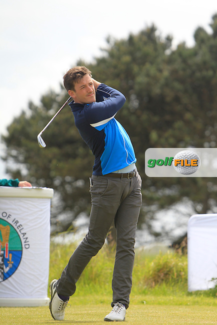 Richard Knightly (The Royal Dublin) on the 1st tee during Round 1 of the Irish Amateur Close Championship at Seapoint Golf Club on Saturday 7th June 2014.<br /> Picture:  Thos Caffrey / www.golffile.ie