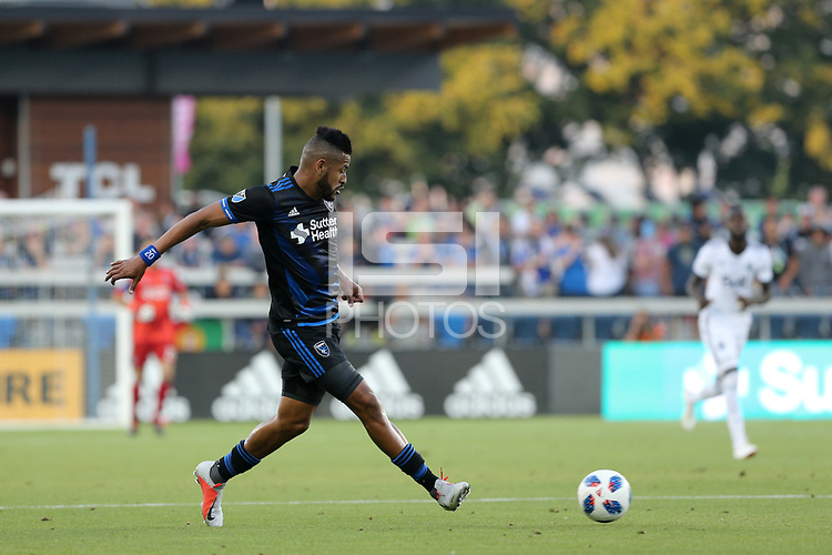 San Jose, CA - Saturday August 25, 2018: Anibal Godoy during a Major League Soccer (MLS) match between the San Jose Earthquakes and Vancouver Whitecaps FC at Avaya Stadium.