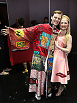 "Brendon Stimson and Hayley Podshun during the Actors' Equity Opening Night Gypsy Robe Ceremony honoring Brendon Stimson for ""Mean Girls"" at the August Wilson Theatre Theatre on April 8, 2018 in New York City."