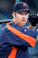 Sean Casey of the Detroit Tigers during batting practice before a game against the Los Angeles Angels in a 2007 MLB season game at Angel Stadium in Anaheim, California. (Larry Goren/Four Seam Images)