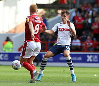 Preston North End's Josh Harrop battles with Nottingham Forest's Ben Watson<br /> <br /> Photographer David Shipman/CameraSport<br /> <br /> The EFL Sky Bet Championship - Nottingham Forest v Preston North End - Saturday 31st August 2019 - The City Ground - Nottingham<br /> <br /> World Copyright © 2019 CameraSport. All rights reserved. 43 Linden Ave. Countesthorpe. Leicester. England. LE8 5PG - Tel: +44 (0) 116 277 4147 - admin@camerasport.com - www.camerasport.com