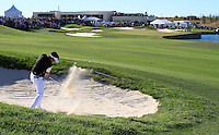 Lee Slattery (ENG) plays his 3rd shot from a fairway bunker on the 18th hole and sends the ball into the water during Sunday's Final Round of the Bankia Madrid Masters at El Encin Golf Hotel, Madrid, Spain, 9th October 2011 (Photo Eoin Clarke/www.golffile.ie)