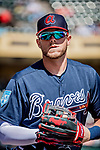 25 February 2019: Atlanta Braves outfielder Greyson Jenista stands outside the dugout prior to a pre-season Spring Training game against the Washington Nationals at Champion Stadium in the ESPN Wide World of Sports Complex in Kissimmee, Florida. The Braves defeated the Nationals 9-4 in Grapefruit League play in what will be their last season at the Disney / ESPN complex. Mandatory Credit: Ed Wolfstein Photo *** RAW (NEF) Image File Available ***