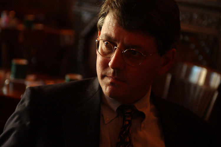 David Rudd, director of the DSCC, is interviewed by Roll Call in the Dubliner on Capitol Hill.