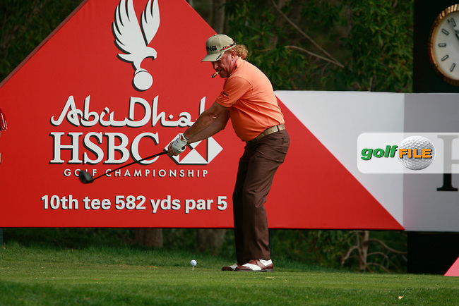 Miguel Angel Jimenez (ESP) starts his match on the 10th hole during Wednesday's Pro-Am of the HSBC Golf Championship at the Abu Dhabi Golf Club, United Arab Emirates, 25th January 2012 (Photo Eoin Clarke/www.golffile.ie)