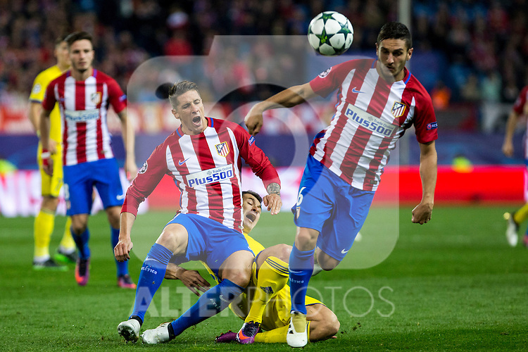Atletico de Madrid's Fernando Torres FC Rostov's Andrei Prepelita  during the match of UEFA Champions League between Atletico de Madrid and FC Rostov, at Vicente Calderon Stadium,  Madrid, Spain. November 01, 2016. (ALTERPHOTOS/Rodrigo Jimenez)