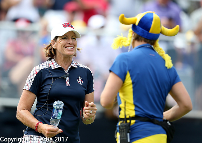 "DES MOINES, IA - AUGUST 20: USA's captain Juli Inkster and Europe's captain Annika Sorenstam have a ""dance off"" on the first tee Sunday morning at the 2017 Solheim Cup in Des Moines, IA. (Photo by Dave Eggen/Inertia)"