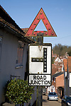 Old road sign for junction, Kersey, Suffolk, England