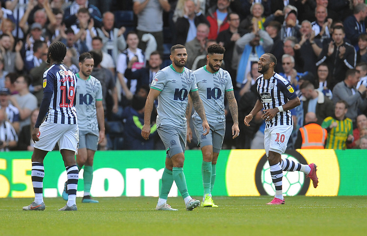 Blackburn Rovers' Bradley Johnson and Derrick Williams look dejected after West Bromwich Albion's Jake Livermore (not in picture) scores his side's second goal <br /> <br /> Photographer Kevin Barnes/CameraSport<br /> <br /> The EFL Sky Bet Championship - West Bromwich Albion v Blackburn Rovers - Saturday 31st August 2019 - The Hawthorns - West Bromwich<br /> <br /> World Copyright © 2019 CameraSport. All rights reserved. 43 Linden Ave. Countesthorpe. Leicester. England. LE8 5PG - Tel: +44 (0) 116 277 4147 - admin@camerasport.com - www.camerasport.com