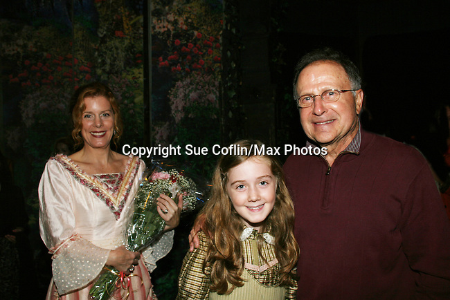 "Liz Keifer & Isabella Convertino (daughter of Liz Keifer) stars as Mary Lennox and poses with her grandfather John Convertino (Bobby's dad) as Philipstown Depot Theatre presents The Secret Garden on November 7, 2009 in Garrison, New York. It runs Oct. 23 until Nov 15, 2009. The musical The Secret Garden is the story of ""Mary Lennox"", a rich spoiled child who finds herself suddenly an orphan when cholera wipes out the entire Indian village where she was living with her parents. She is sent to live in England with her only surviving relative, an uncle who has lived an unhappy life since the death of his wife 10 years ago. ""Archibald's son Colin"", has been ignored by his father who sees Colin only as the cause of his wife's death.This is essentially the story of three lost, unhappy souls who, together, learn how to live again while bringing Colin's mother's garden back to life. (Photo by Sue Coflin/Max Photos)........"