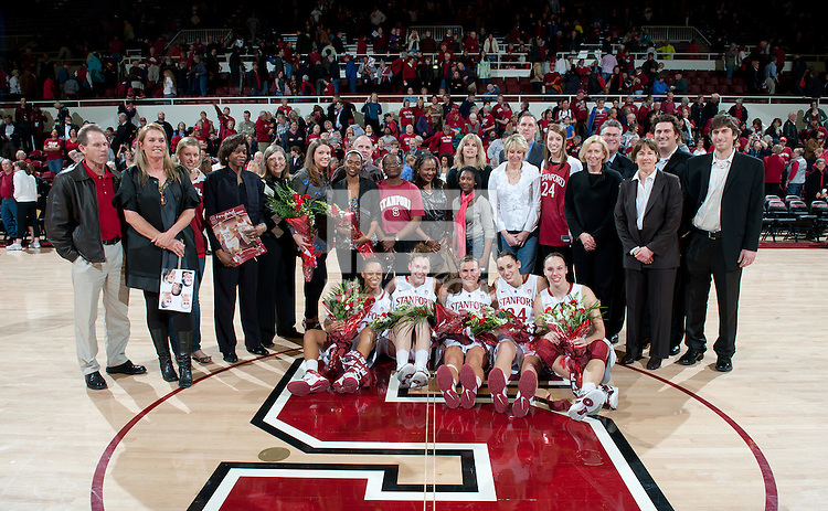 STANFORD, CA - March 3, 2010: Stanford Cardinal Seniors after Stanford's 75-51 win over the University of California at Maples Pavilion in Stanford, California.